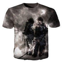 Cloudstyle Top fashion 3d grey Fire Fight T-shirts 0-collar Short Sleeves The most beautiful firefighters Summer t shirt s-5xl