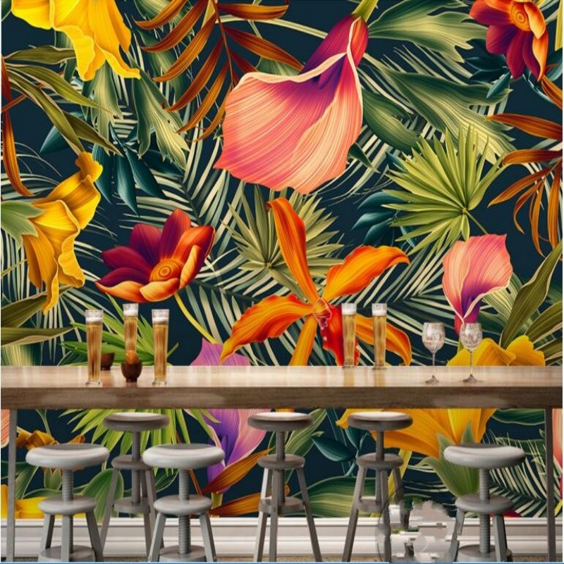 3D  wallpaper hand-painted tropical rain forest plant flowers Basho cartoon decoration TV background wallpaper for walls 3 d<br><br>Aliexpress