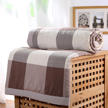 100% Cotton Japan Stylr Air Condition Room Spring Summer Blanket Double Side Water Wash Thin Quilt Soft Lattice Blanket