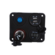 1 Marine Bost Car RV Voltmeter Dual USB Port 12V Power Socket 4Hole Panel ON-OFF Button Switch Car Accessories(China)