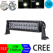 "72W 13.5"" 5D Dual Row Straight Led Light Bar Work Light Offroad Driving Lamps Spot Flood Combo for SUV ATV 4x4 4WD 2WD Tractor"
