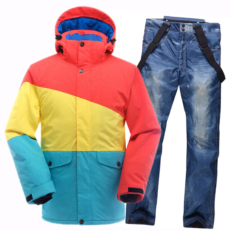 2016NEW Ski Suit Men Waterproof Breathable ski jacket+snowboard pants denim Thicken Warm mens ski suit For Skiing Snow Set Male<br><br>Aliexpress