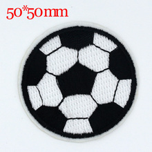 10PCS NEW 50*50 mm Large football design Badge Iron-On Patches Embroidered Appliques Sewing Patch Clothes Stickers Garment DIY