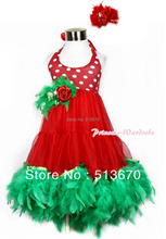 Xmas Red White Polka Dots ONE-PIECE Petti Dress Kelly Green Posh Feather & Red Feather Rose Bow With Accessory 2PC Set MALP26-2