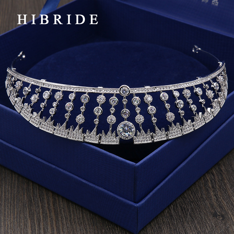 HIBRIDE Full AAA CZ Tiara King Crown Wedding Hair Jewelry Beautiful Gold Color Headpiece Bridal Accessories HC00010