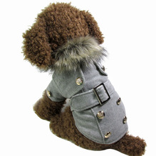 Puppy Clothing Dog Clothes Fur Collar Winter Overcoat Jacket For Small Dogs Thick Warm Clothes