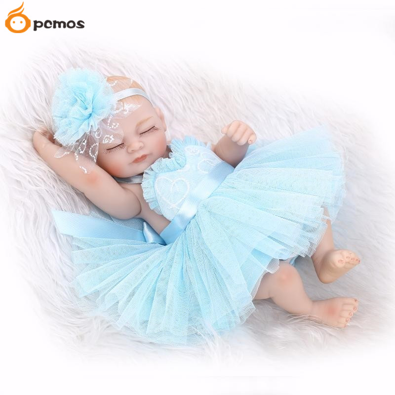 [PCMOS] 2017 New  Lifelike 11 Sleeping Girl  with Blue Lace Dress Reborn Doll Soft Touch Vinyl Handmade Baby Toys Gift 16050509<br><br>Aliexpress