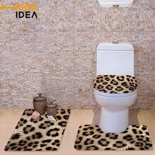 HUGSIDEA 3Pcs/set Winter Toilet Seat Covers Soft Warmer Washable Bathroom  Set Leopard Zebra Fur