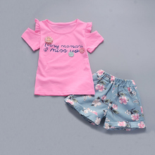 BibiCola Girls Clothing Sets 2017 new summer girls clothes Floral Print White T shirt + Blue Floral Shorts Children clothing