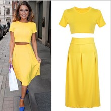 Nice Pop New Style 2 Piece Bandage Bodycon Dress Celebrity Short Sleeve Sexy Club Dresses Yellow Vestido Crop Pop Elegant Outfit