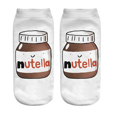 nutella white 3D Printed ladies cartoon short chaussette femme cute  korean socks