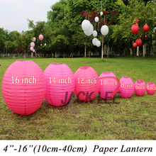 HAOCHU 5Pcs/lot 6-8-10-12-14-16 Inch Rose Red Chinese Round Paper Lanterns For Wedding Birthday Christening Party Ornaments(China)