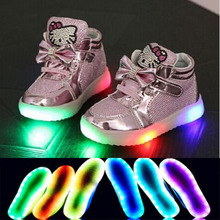 2017 new fashion LED lights baby boys and girls casual shoes elegant cute baby sports shoes size 21-30