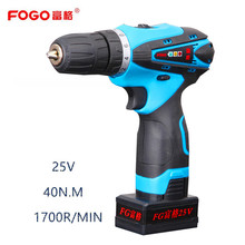 FOGO 25V Rechargeable Lithium Battery household Cordless drill Electric Drill Electric Screwdriver Drill wood screw gun driver