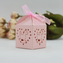 KAZIPA 50pcs Laser Cut Rockie Horse Gift Candy Cake Favor Boxes Decoration Box for Wedding Party Favor Shinng Pink