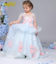 Beautiful Flowers Puffy Flower Girl Dresses Short Sleeve Ball Gown Pageant Gowns First Communion Girl Dress Real Photos