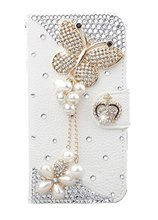 Luxury Fashion Handmade Bling Diamond PU Flip Leather Case Cover For Smart Mobile Phones For IPhone6S 6SPLUS 7 7PLUS , Butterfly(China)