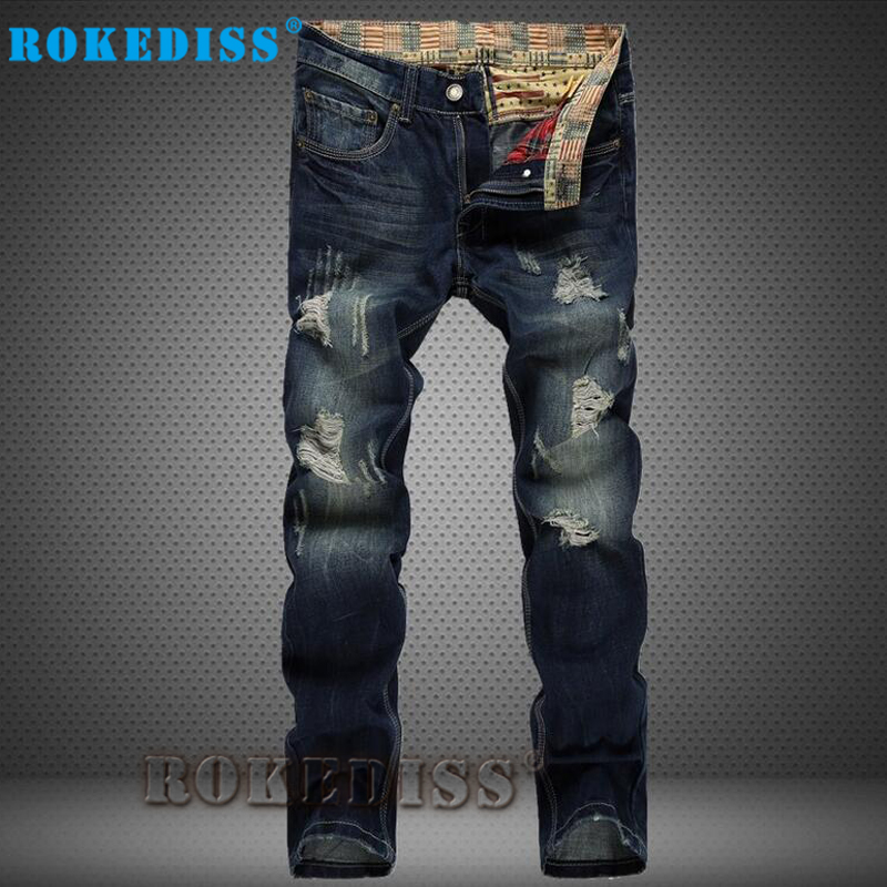 High quality mens jeans hole Casual ripped jeans men hiphop pants Straight for men denim trousersBT001Îäåæäà è àêñåññóàðû<br><br>
