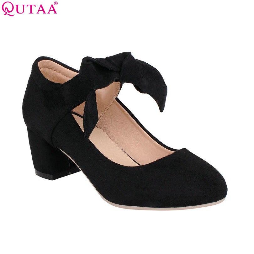 QUTAA Scrub Square High Heels Woman Pump Ladies Summer Shoes Bow Tie Mary Jane Women Wedding Shoe size 34-43<br><br>Aliexpress