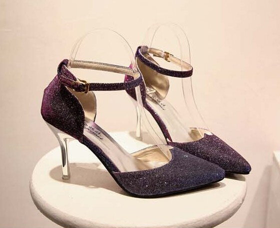 Purple Shoes Women High Heel Pointed Toe Ankle Buckle Bling Shoes 2017 Spring New Fashion Free Shipping<br><br>Aliexpress