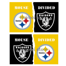 customized club super fan dual flag Pittsburgh Steelers VS Oakland Raiders flag sport handing Pittsburgh Steelers flag(China)