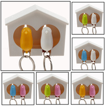 2016 fashion jewelry keychain for the keys Whistle Bird House couple Key chain Wall Mount Hook Holder Plastic Sparrow keychains