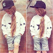 2Pcs Fashion NEW Kids Baby Girls star Outfits Clothes Long Sleeve T-shirt +Short Denim Pants Set