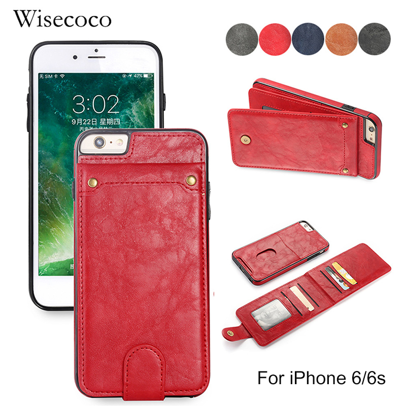 Retro Wallet Bag Case iPhone 6 6s Wisecoco Card Holder Cover 2 1 Cases Back Protector 6 6s phone6 6s Coque Funda