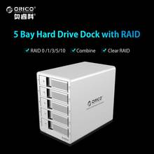 ORICO 9558RU3-SV 3.5'' External HDD Enclosure 5-bay USB3.0 ESATA Raid HDD Docking Station Case for Laptop PC(China)