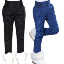 Winter Kids Waterproof Trousers Girls Duck Down Pants Children Leggings 13 12 Years Black White Pink Blue Pantalon Enfant(China)