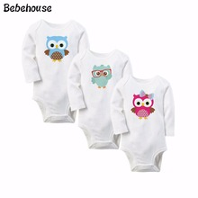 Baby Girl Clothes Boy Long Sleeve Bodysuits New Born Clothing owl Character Printed Infant Jumpsuit Overall For Age 0-12M(China)