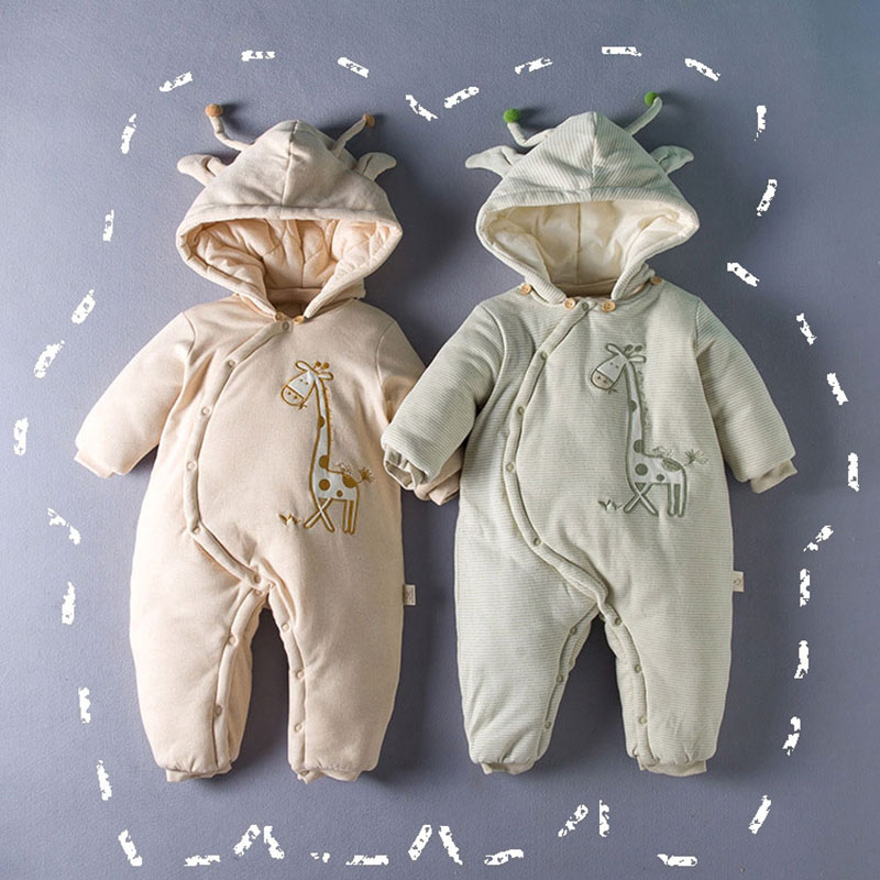 Autumn Winter -10 Degree Cotton Filled Romper for Newborns Baby Fashion Warm Cartoon Giraffe Outerwear Infant Girl Boy Jumpsuit<br>