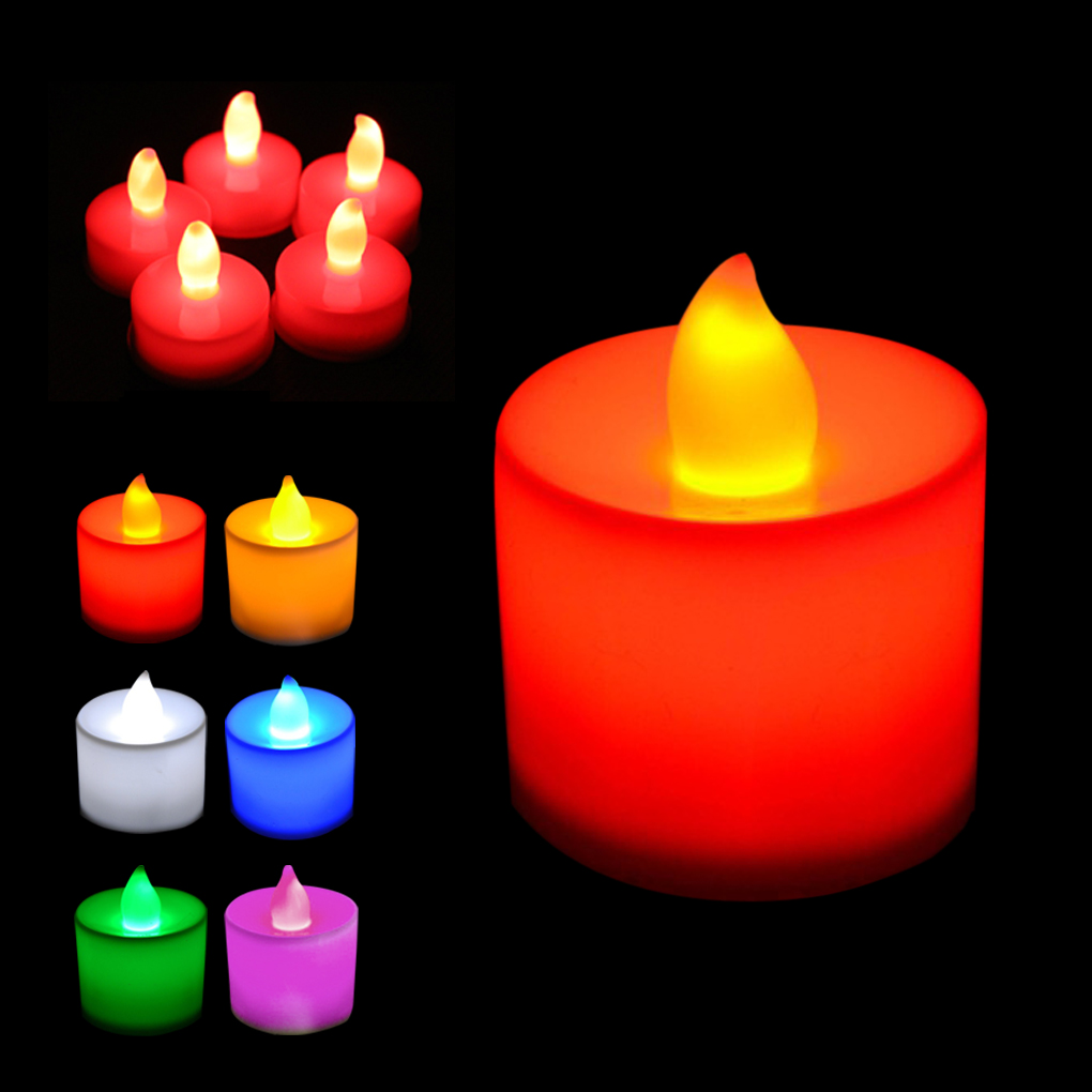 5pcs Fashion Polypropylene Plastic 6 Colors Candle Shape LED Fliker Flameless Candle Light For Wedding Party Holiday Decoration(China)