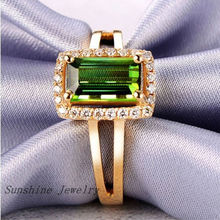 Solid 14k Yellow Gold 1.20ct Natural Green Tourmaline & 0.16ct . Engagement Wedding  Free shipping