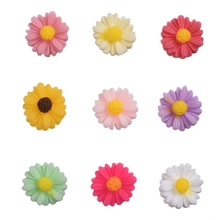 100 Mixed Resin Flower Beads Cabochon Scrapbook Fit Phone Embellishments Plastic sunflower shaped Accessories(China)