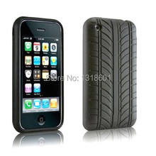 Black Tire Silicone Skin Gel Shockproof Phone Case Cover For Apple iPhone 3 3G 3GS