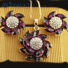 MOONROCY Free Shipping jewelry Cubic Zirconia Rose Gold Color Purple Crystal Necklace and Earring Jewelry Set for Women