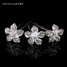 Hot Sale Wholesale 20pcs Crystal Rhinestone Flower Women Wedding Bridal Prom Hair Pin Clips Slides Hair Jewelry Free Shipping