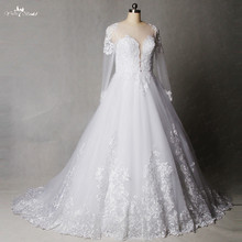 RSW1239 A Line Backless Long Sleeve Wedding Gown