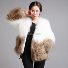 SJ049-01 High Quality 100% Genuine Knitted Raccoon Fur Jackets China Factory Direct Sale Cheap Fur Coats Women