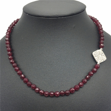 Classic Natural Stone Jewelry NEW designen Faceted 6mm Round Rubies Beaded with Metal Beads Strand Necklace 45cm