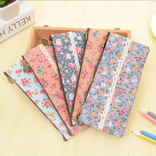 1pcs/lot ZAKKA Vintage dots flower lace series zipper felt pencil bag pen case students' gift office school Stationery supplies(China)