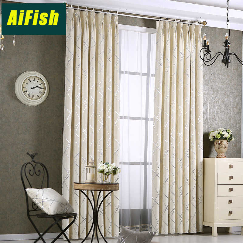 Modern Thicken Chenille Blackout Curtains Jacquard bedroom Curtains Finished Floor window decor Curtains For Living Room WP293&3