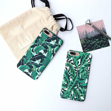 Hard Matte Plastic Plants Banana Leaves Case For iphone 6 6S 5 5s SE 7 7Plus Phone cases Back Cover Green coque for iphone 5s se