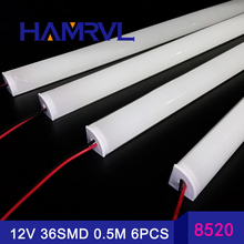 6pcs/slot  0.5M 12V Super bright  Korea 8520 36SMD double chips  with led v channel profil and cover 18W/M  Hard Rigid LED Strip