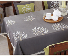 Cotton tree tablecloth vintage pastoral gray LACE table cover natural BEAUTY fabric garden floral Embroidery dining linen