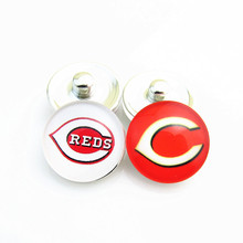 Wholesale Baseball Sports Mix Cincinnati Reds Logo Glass Snap Button Charms Fit 18mm DIY Snap Bracelets Jewelry 20pcs/lot(China)