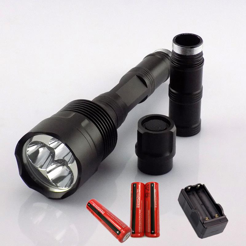 searching led flashlight creee T6 2000lm flash light torch lamp linternas tactical outdoor recargable 3* 18650 battery + charger<br>