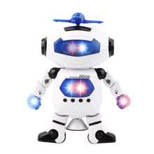 Electric Smart Space Walking Dancing Robot Children Music Sound Light Dancing Robots Action Figures Toys Robots Electronic Pets(China)