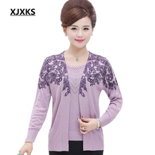 XJXKS New 2017 Middle-aged Women's Spring Sweater Sets Long Sleeve Loose Mother Fashion Wool Cardigan Sweater Set